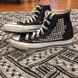 Converse Shoes - Converse: Studded high top black chucks, (w6) (m4)