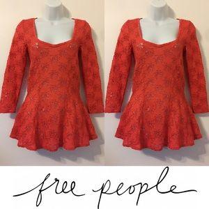 Free People Tops -   Free People   Orange Lace Peplum 3/4 Sleeve Top