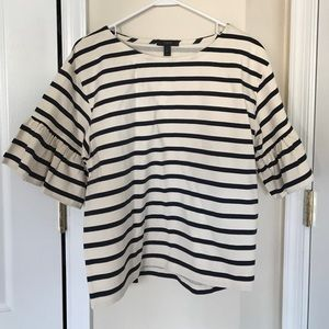J. Crew striped ruffle sleeve top size M