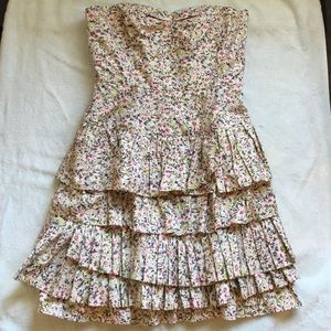 J. Crew floral ruffled strapless dress size 2