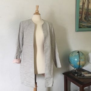 Jackets & Blazers - Gray and White Stripe Jacket Coat w pink lining