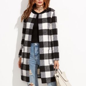 Shein Black & White Checkered Coat