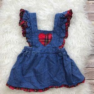 Vintage Other - Vintage Denim Plaid Heart Dress Jumper