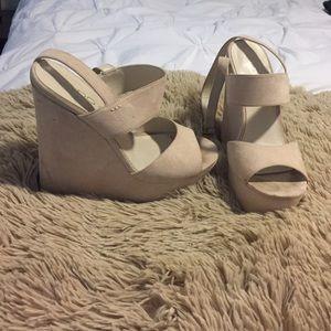 Aldo 3-Strap Nude Heels