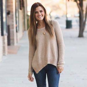 Anthropologie Sweaters - Anthropologie metallic rose gold sweater