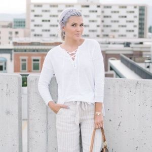 LOFT Sweaters - Loft white tassel tunic sweater