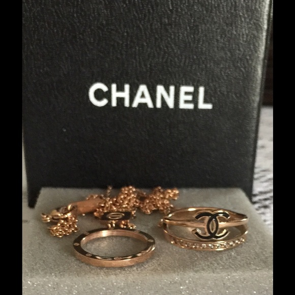 CHANEL Jewelry Rose Gold Diamond Ring Matching Necklace Poshmark