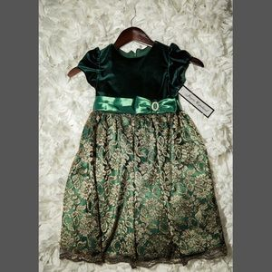 Jayne Copeland Other - Jayne Copeland Girls 5 Velvet Metallic-Lace Dress