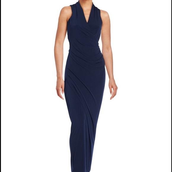 Calvin Klein Dresses   Navy Sleaveless Sheath Gown   Poshmark