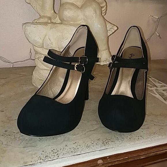 4e5a498ebca Black double strap short heel retro pumps