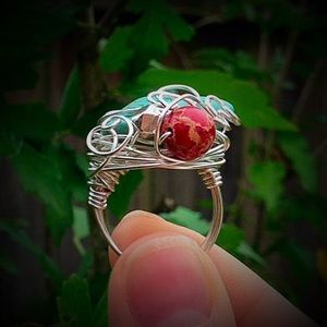 Jewelry - Freeform wire wrapped turquoise magnesite ring
