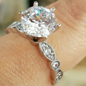 14k Solid white gold 3ct center engagement ring