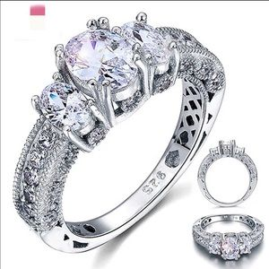87 jewelry real 925 silver engagement wedding ring