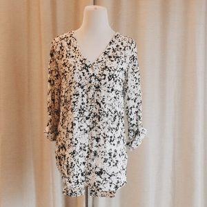 Tops - Granite Black & Cream Print Blouse
