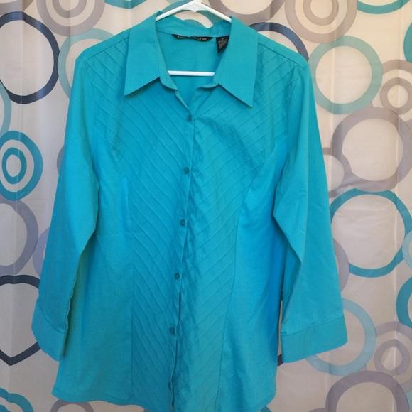 8d52d2bc5 Zac & Rachel Tops | Zac Rachel Top Teal Long Sleeve Button Up Xl ...
