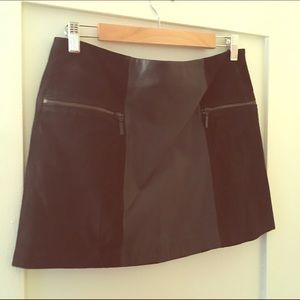 Gorgeous black leather & suede mini skirt NWT
