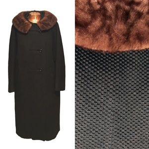 Vintage 1950s Mink Fur Trimmed Swing Coat