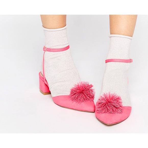 ASOS Shoes   Pink Pompom Shoe   Poshmark