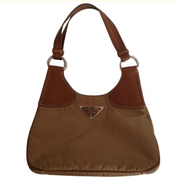 e76ba726ffa5 PRADA l Nylon   Pebbled Leather Hobo Shoulder Bag.  M 5878ea3cea3f36d9ae0379bf