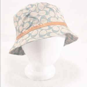 COACH Blue Signature Bucket Hat with Leather Trim