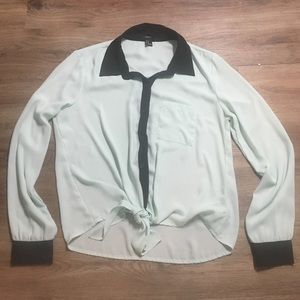 Mint green collared tie-front blouse.