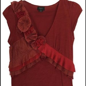 Deletta Anthropologie Flower Pleated SS Top  S Sm