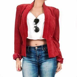 Vintage red suede jacket