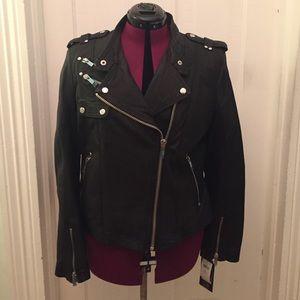 NWT black motorcycle jacket size XL