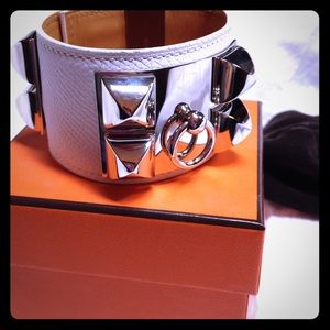 Hermes Accessories - Hermes CDC Kelly Dog Bracelet Cuff White/Silver