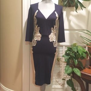 Little Mistress Dresses & Skirts - Navy Blue and Cream Lace Dress