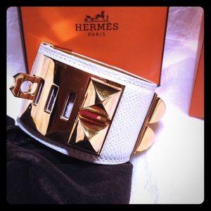 Hermes Accessories - Hermes CDC Kelly Dog Bracelet White/Gold