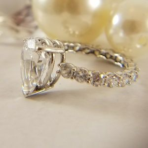 14k Solid Real white gold Eternity Engagement ring