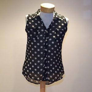 Fun & Flirt Tops - Fun & Flirt sheer black polka dot top. Size small