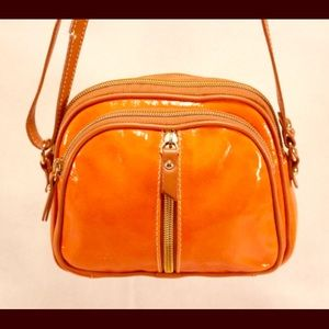 Valentina Italia Handbags - VALENTINA Italia Orange Purse with Tan Leather