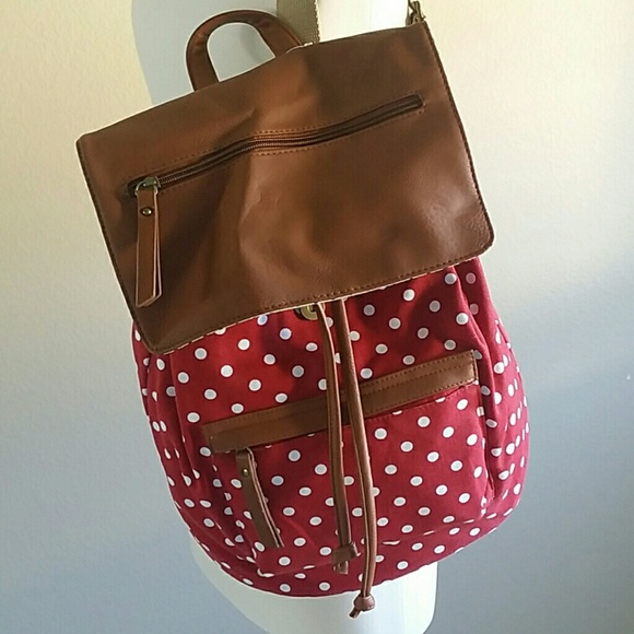 28158d77a Madden Girl Handbags - Madden Girl Red Polka Dot Backpack