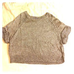 Vince Sweaters - Vince Silver LooseFit ShortSleeve OpenKnit Sweater