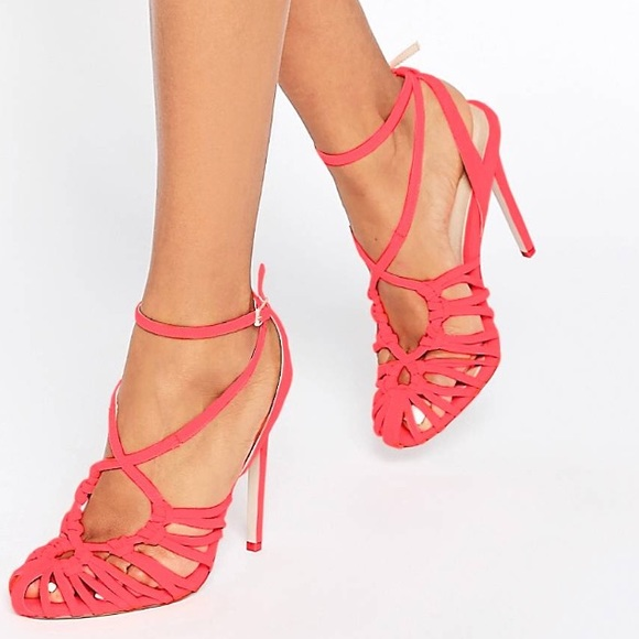 1c594f3c207 ASOS Perry Caged Heels in Coral Size 9