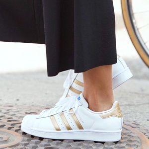 Adidas Shoes - Adidas Gold & White Superstars