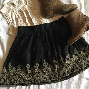 Anthropologie Dresses & Skirts - Nick & Mo embroidered short black boho skirt