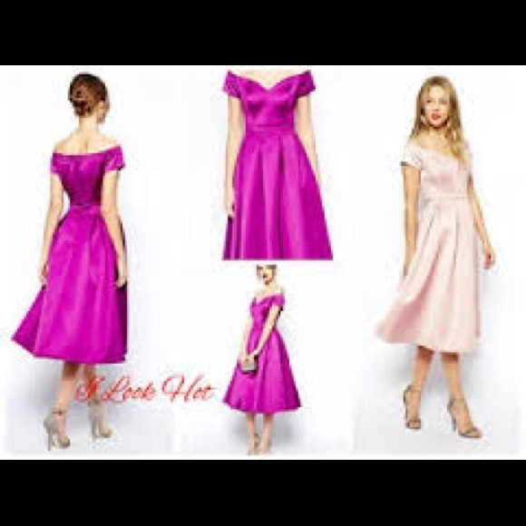 ASOS Dresses - Asos Satin Bardot Midi Prom Dress