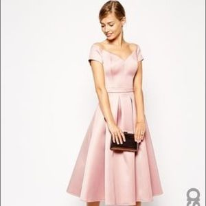 ASOS Dresses & Skirts - Asos Satin Bardot Midi Prom Dress