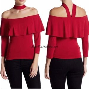 Boutique Tops - 🆕Off the shoulder ruffle choker neck top