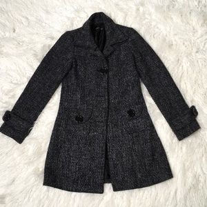 Poetry Clothing  Jackets & Blazers - Poetry Clothing Tweed Dark Gray Pea Coat