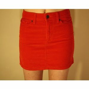 Red/Orange Gap Mini Corduroy Skirt