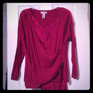 2pc Nine West faux wrap Sweater and silky shell.
