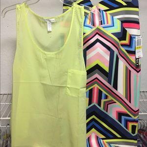 Dresses & Skirts - Bodycon midi skirt M & lime sheer tank L SET NEW