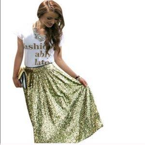 Long Gold Sequin Swing Skirt XL