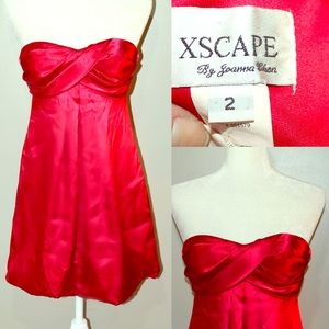 Xscape Dresses & Skirts - XSCAPE Strapless red satin mini cocktail dress