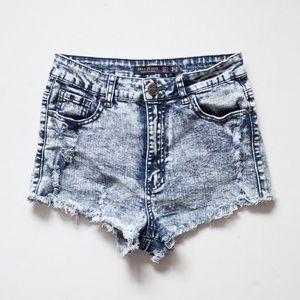 Pants - High waist acid wash denim shorts