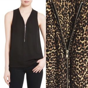 The Kooples Tops - THE KOOPLES front-zip leopard print silk top